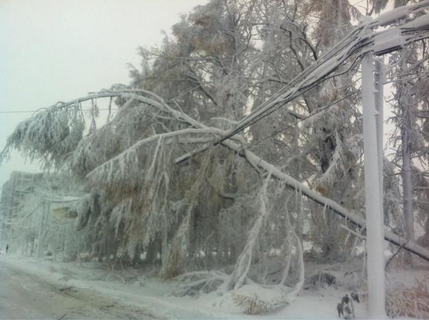 室蘭地方暴風雪、大規模停電発生で冷凍都市化、電柱や木ポッキリも